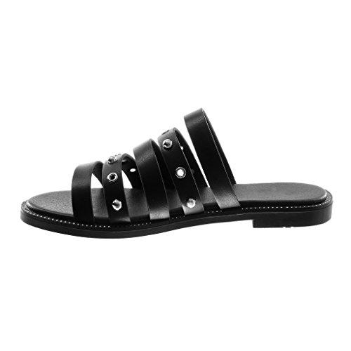 Angkorly Chaussure Mode Sandale Mule Slip-On Femme Multi-Bride Perforée Clouté Talon Bloc 1.5 CM Noir