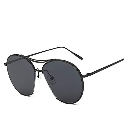 Li Kun Peng Mode Runde Sonnenbrille Frauen Männer Persönlichkeit Retro Unisex Übergroße Metall Halbrahmen Paar Gläser UV400,C5Black~Black