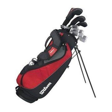 Wilson Anfänger-Komplettsatz, 11 Golfschläger mit Carrybag, Herren (linke Hand) Profile VF, Schwarz/Grau/Rot, WGG157240