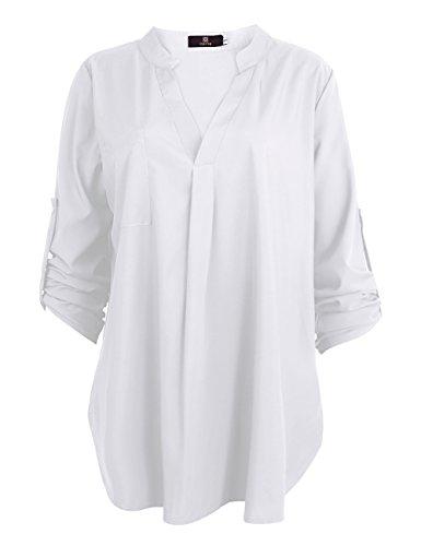 ISASSY Casual Damen Bluse Shirt locker Chiffon Bluse V Ausschnitt 3/4 Ärmel