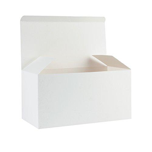 Ruspepa scatole regalo in cartone riciclato - scatola decorativa con coperchio per regali, feste, matrimoni - 23x11.5x11.5 cm - 30 pezzi - bianco