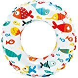 24 inch Inflatable Swim Ring - Blow Up Floating Tube Raft Tube for Swimming Pool Beach for Age 6 to 10 Years - Fish Print