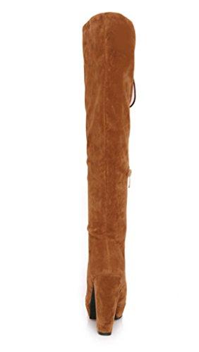 YE Damen Blockabsatz Heels High Heel Plateau Wildleder Kniehohe Schnürstiefel mit Reißverschluss 10cm Knee High Boots Fashion Elegant Herbst Winter Schuhe Hellbraun