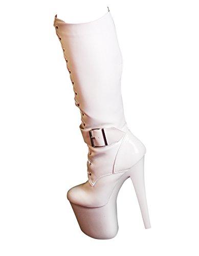 RUBY-FASHION Sexy Extrem Hohe Plateau High Heels Lack Stiefel GoGo Kniestiefel Lackstiefel Boots / Weiß / Größe (Hoher Sexy Knie Stiefel)
