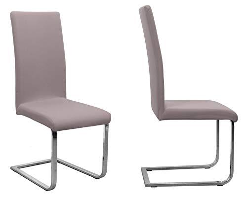 BEAUTEX 2er Set Jersey Stuhlhusse (Farbe wählbar), elastische Uni Stretch-Husse aus Baumwolle Bi-Elastisch (Taupe)