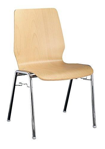 4x Besucherstuhl Stuhl Stühle Konferenzstuhl Büromöbel stapelbar Buche 225500