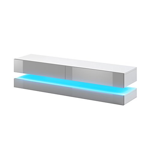 Aviator - Meuble TV Suspendu / Table Basse TV / Banc TV de Salon (140 cm, Blanc Mat / Gris Brillant avec l'éclairage LED bleue)
