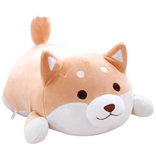 Hund Plüsch Kissen, niedliche Corgi Akita Kuscheltiere Puppe Spielzeug Geschenke, Weihnachten, Sofa Stuhl, braunes rundes Auge (38cm)