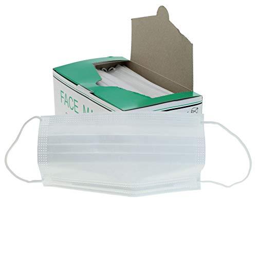 50x Mundschutz OP Vlies-Mundschutz Einweg Maske mit Elastikband - 3-lagig, 100% Polypropylen (PP), mit anpassbarem Nasenbügel, hypoallergen, glasfaser- und latexfrei von JUNGMEYER (weiß)