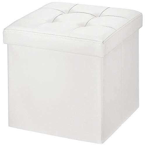 Brian & dany pouf cubo poggiapiedi sgabello contenitore cassapanca pieghevole carico max. 300 kg, ecopelle, bianca, 38 cm x 38cm x 38cm