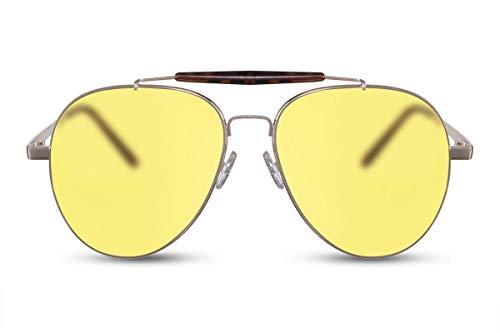 Cheapass Sonnenbrille Gold Gelb Getönt Piloten-Brille Flieger-Brille Retro UV-400 Metall-Rahmen Damen Herren