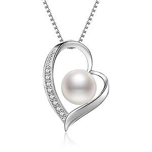 """Abiguell Kette Perle Damen Herz Halskette 925 Sterling Silber""""Einzigartige Liebe""""Anhänger Schmuck 45CM Kettenlänge Geschenk für Damen"""