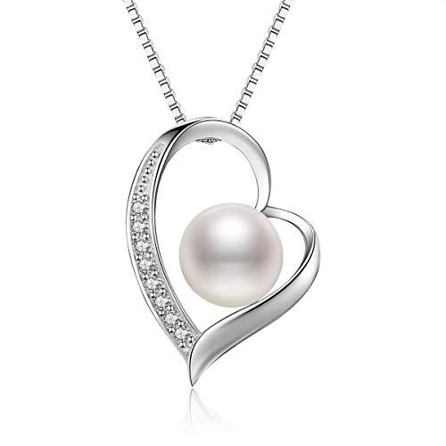 Abiguell Kette Perle Damen Herz Halskette 925 Sterling Silber