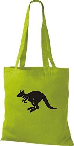 shirtstown Borsa di stoffa ANIMALE CANGURO Roo Lime