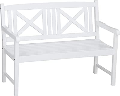 Stern 426723 Bank 2-Sitzer Cabana, Akazie weiß lackiert, Sitzbreite, 114 cm
