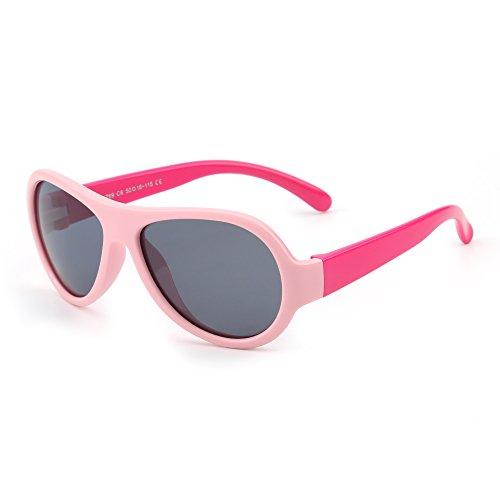 JM Kinder Gummi Polarisiert Sonnenbrille Unzerbrechlich Mädchen Jungen Alter 3-12(Pink&Rot/Grau)