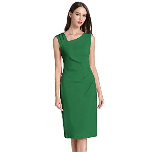 kolila Damen Retro 1950s Stil Ärmelloses schlankes Business Bleistift Kleid Elegante einfarbige unregelmäßige Kragen Knie Kleider(Armeegrün,L)