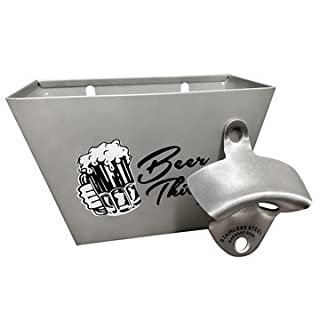 Barware Gear Bundle: Brushed Stainless Steel Wall Mounted Bottle Opener With Beer Thirty Wall Mounted Cap Catcher with Stainless Steel screws.