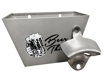 Barware Gear Bundle: Bundle: Acciaio inossidabile spazzolato fissato al muro Apri di bottiglia con birra Trenta con montaggio a parete del collettore della capsula con le viti in acciaio inossidabile