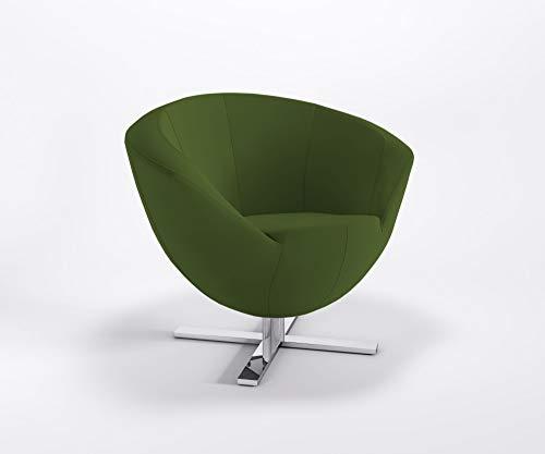 Clubsessel ONLY Plus BK Kreuzfuß Barsessel Bürosessel Kunstlederbezug Valencia, Farbe:V5001 - Olive