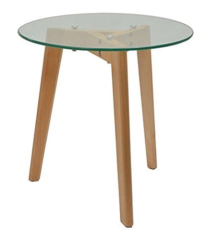 ts-ideen Glastisch Beistelltisch Loungetisch Buchenholz Füße 8 mm ESG Sicherheitsglas
