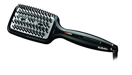 BaByliss Liss Brush - Cepillo alisador de pelo iónico, de cerámica con 3 tipos de púas, 3 temperaturas 160°C, 180°C, 200°C, alisa todo tipo de cabello, superficie más grande, alisado más rápido