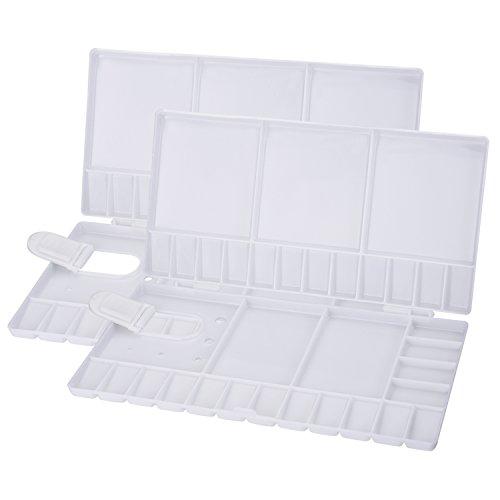 2 Stück Faltbare Farbpalette Mischpalette Aquarell Öl Kunststoff Paletten mit 33 Fächern, Thumbhole und Pinselhalter, Weiß
