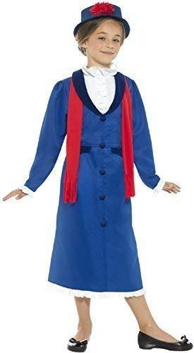 Mädchen blau schick Viktorianisch Nanny TV Buch Film Welttag des buches-Tage-Woche historisch Kostüm Kleid Outfit 4-14 Jahre - Blau, 10-12 Years
