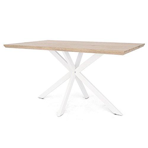 Tuoni argo tavolo, legno multistrato/metallo, rovere naturale/metallo laccato bianco, 140x80x75 cm