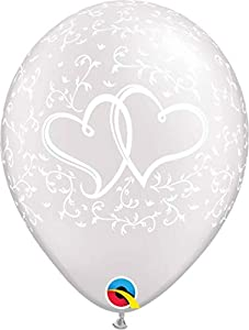 Qualatex 31497 - Globos de látex, diseño de Corazones, Color Blanco Perla