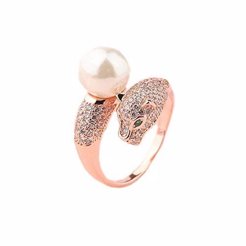 JINGJING Frauen-Ring Schmuck Domineering Leopard Head Open Ring,Gold