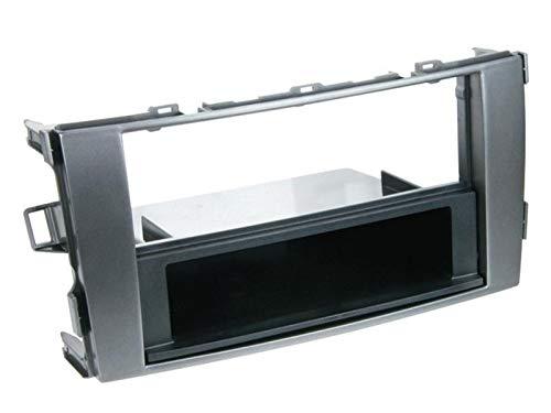 Facade Autoradio FA206 pour Toyota Auris 07-12 - 1Din avec vide poche Gris fonce - ADNAuto