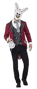 Smiffys 46826 Deluxe - Disfraz de conejito para hombre, chaqueta, chaleco, máscara y reloj de bolsillo, talla L