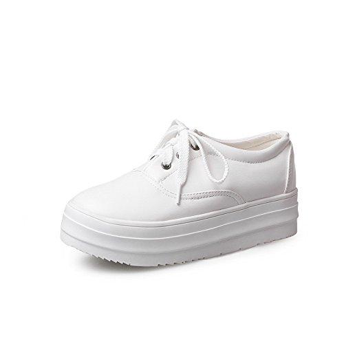 AllhqFashion Damen Rund Zehe Niedriger Absatz Rein Schnüren Pumps Schuhe Weiß