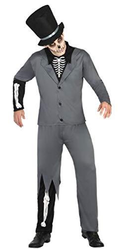 Fancy Me Gruseliger Gruseliger Skelett-Bräutigam für Herren, Zombie-Kostüm, Halloween-Kostüm (Skelett Bräutigam Kostüm)