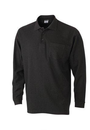 Herren Langarm-Polohemd mit Brusttasche, Farbe:black;Größe:XXL
