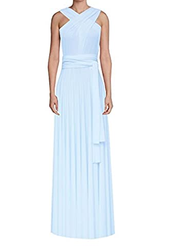 E K Women's twist wrap convertible maxi dress Bridesmaid long infinity gown-12-16-Baby blue