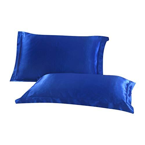 Blaue Seide Shell (About1988 48 X 74cm 2 Packung Satin Seide Kissenbezüge Kissen Shells Umkehrbare, Kopfkissenbezüge aus hochwertige Mikrofaser für Haar- und Hautpflege Seide (Blau))