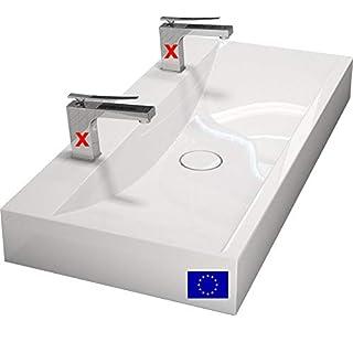 Design Doppel-Waschbecken mit Ablaufabdeckung - 100cm zur Wandmontage oder als Aufsatzwaschbecken