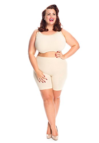 All Woman Damenunterwäsche in großen Größen gegen Wundscheuern der Oberschenkel, aus leichtem Stoff und mit kurzen, rutschfesten Beinabschlüssen (46/50, Beige)