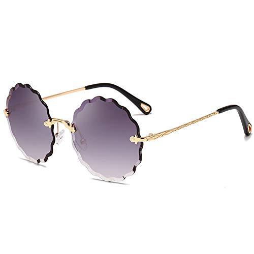 Yuanz Dame runde randlose Sonnenbrille Frauen Diamant schneiden linse Vintage Blume Form Sonnenbrille für Frauen,S