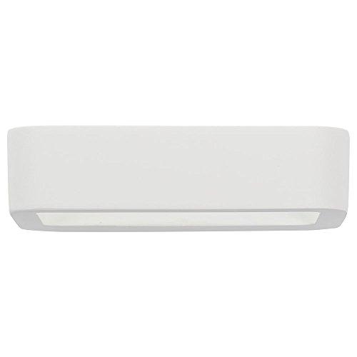 famlights | LED-Wandleuchte Maurice, aus Gips, weiß | Moderne Wandlampe für Wohnzimmer, Schlafzimmer, Esszimmer, Flur, Leuchte Lampe Rechteck rund Up Down überstreichbar