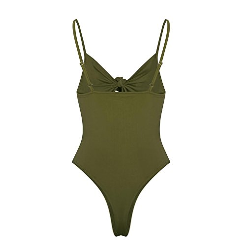 Manadlian Bikini Femme 2018,Maillot De Bain Femme 1 Pieces Sexy Femme Beach Bikini Hollow Out Jumpsuit Push-Up Soutien-Gorge Rembourré armée verte