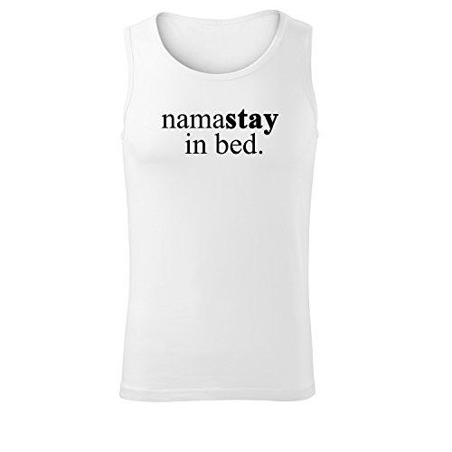 Herren Top namastay in bed Unterhemd Shirt - schwarz & weiß mit Motiv - Tank Muskelshirt T-Shirt bedruckt Poloshirt mit Motiv - Neu S - XXL Weiß