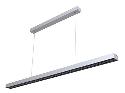 LEDAXO LED-Pendelleuchte PL-04-60, direkt-indirekt abstrahlend, 7.600 lm/60W, 1-10V dimmbar, 4000K (neutralweiß), blendfrei (UGR<6) Bildschirm-Arbeitsplatz-geeignet, Gehäusefarbe silber - Pl Pendelleuchten