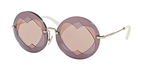MIU MIU Heart Lens Round Sunglasses in Lilac Pink MU 01SS VA14M2 62 Lilac Pink Pink Gold Mirror 62