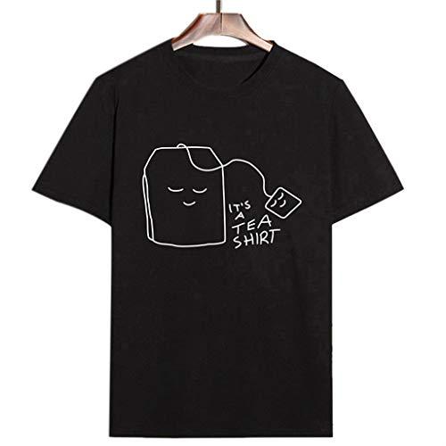 Dorical Damen Sommer Kurzshirt Einfarbig Kurzarm Drucken T-Shirt Casual Rundhals Tunika Tops,Frauen Shirt Teenager Mädchen Casual Tea Shirt Bluse Loose Kurzarm Sale(Schwarz,X-Large)