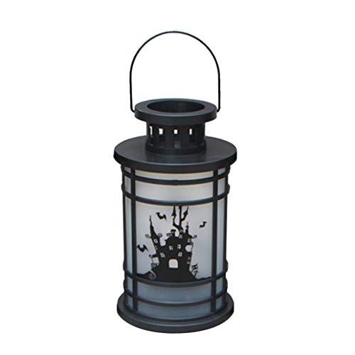 WINWINTOM LED-Laterne mit Flammen-Optik Hängende Laterne Flammenlampe Dekor Licht Vintage Party Schloss Halloween Kürbis (B)