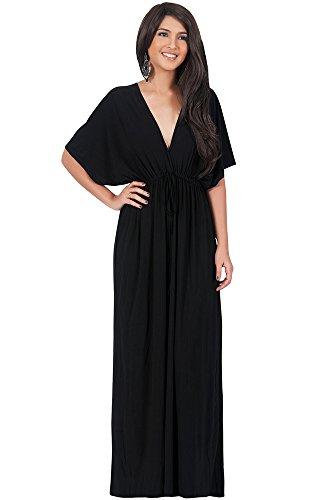 KOH KOH® Damen Petite V-Ausschnitt Elegantes Langes Maxikleid Cocktail mit Kimono Ärmeln, Farbe Schwarz, Größe S / Small (1) (Kleider Classy Brautjungfer)