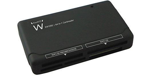 Ewent EW1050 USB 2.0 Lettore e Scrittore di Schede di Memoria a 6 Slot, per Schede SDXC, SDHC, SD, MMC, RS-MMC, TF, Micro SDXC, Micro SD, Micro SDHC, Compact Flash CF, Nero